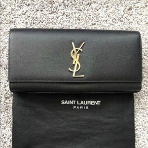 YSL Monogram Leather Clutch- Authentic
